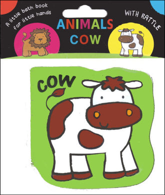 Baby bath book with rattle cow