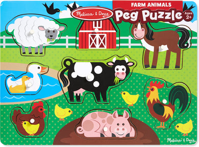 Farm animal with picture under peg puzzle