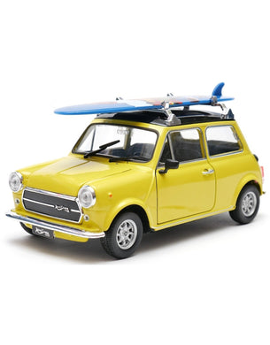 Mini Cooper 1300 with Surf Board Yellow (scale 1 : 24)