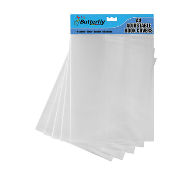 A4 Adjustable Clear Plastic Slip On Cover 5pc