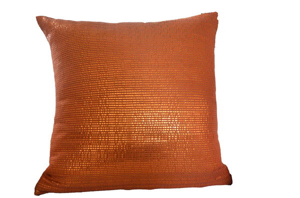 Atelier Nihal Metallic Orange Leather Pillow