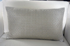 Atelier Nihal Silver Leather Woven Pillow