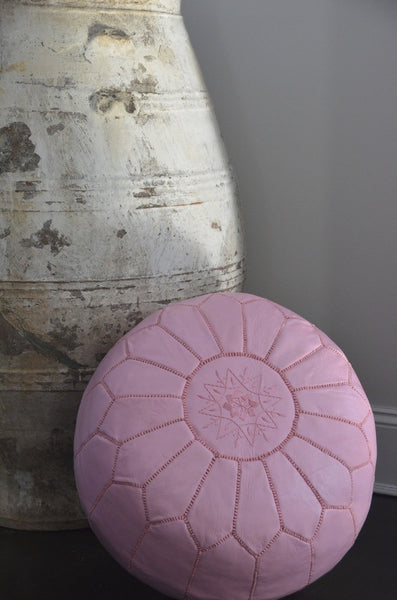 Pink Leather Pouf