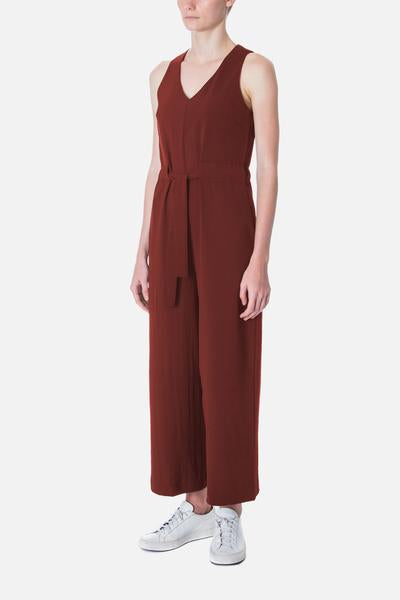 V NECK JUMPSUIT WITH DRAWSTRING - beyondthevinessg