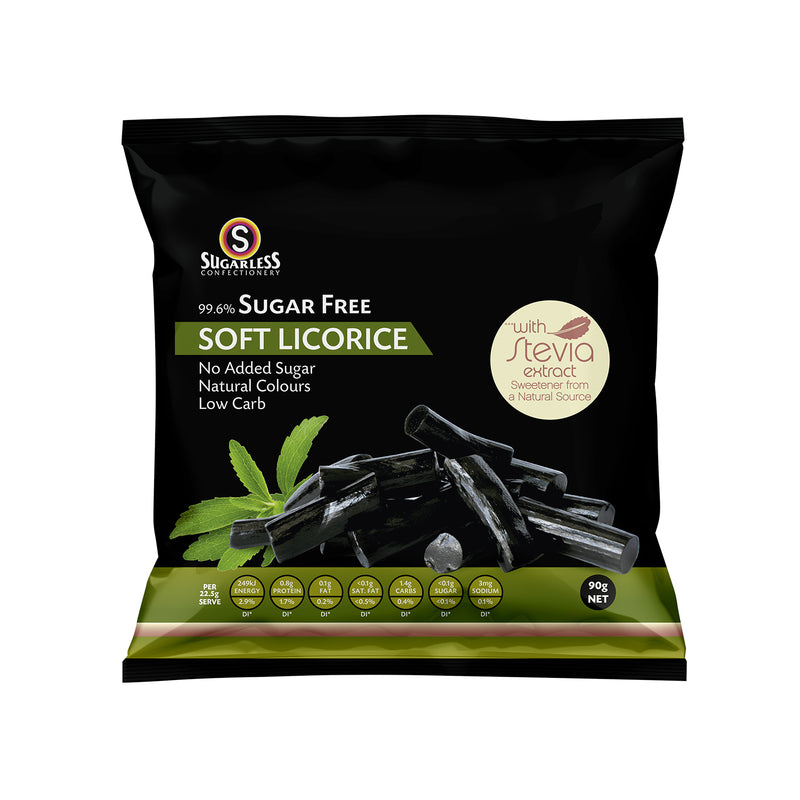 Soft Licorice Pieces With Stevia (Sugarfree) [90g]