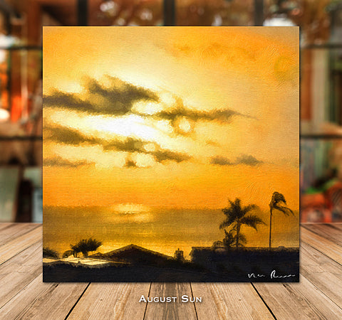 August Sun Wrapped Canvas Print 16x16