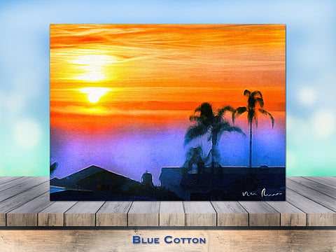 Blue Cotton Wrapped Canvas Print
