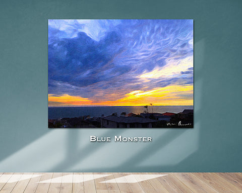 Blue Monster Wall Print 60x40