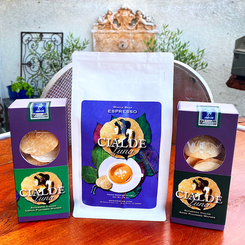 Trio Set of Cialde Luna Wafer Cookies - Lemon and Anise flavored and CL Espresso