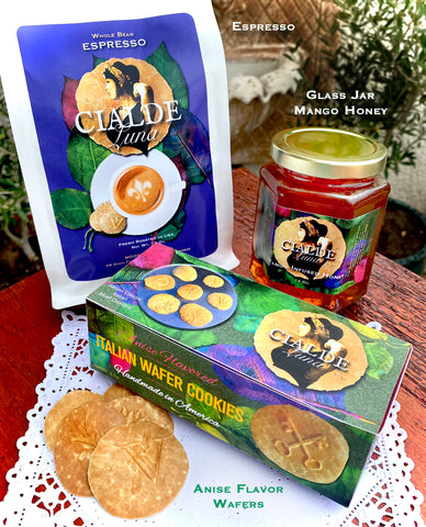 Gift Combo of Cialde Luna Wafer Cookies - Anise flavored, Local Mango Honey, and Espresso Coffee