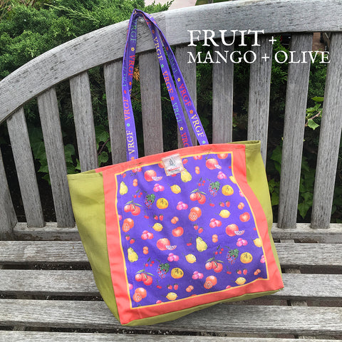 VRGF Fruit Print on Mango/Olive Canvas Bag