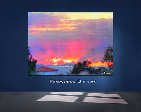 Fireworks Display Wall Print 60x40