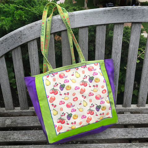 VRGF Fruit Print on Purple/Lime Canvas Bag