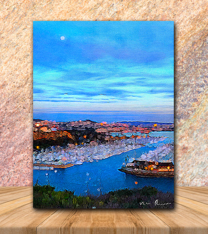 Harbor Moon Wrapped Canvas Print 11x14