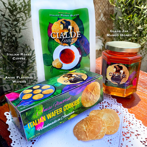 Gift Combo of Cialde Luna Wafer Cookies - Anise flavored, Mango Honey, and Italian Roast Coffee