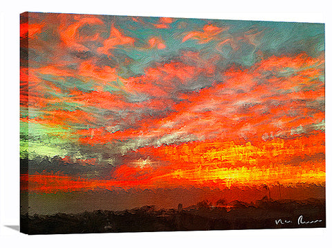 Orange Attack Wrapped Canvas Print