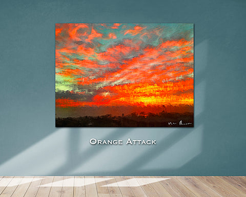 Orange Attack Wall Print 60x40