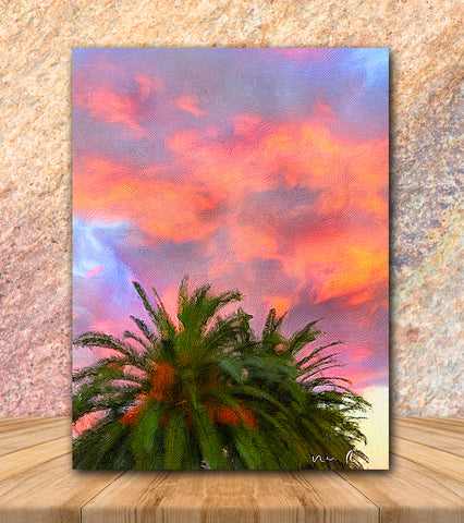 Palm Fire Wrapped Canvas Print