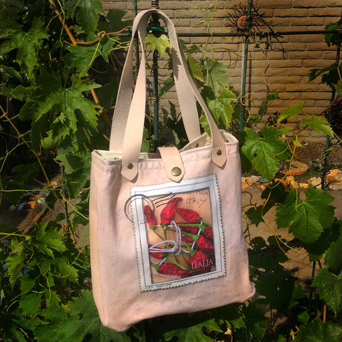 Canvas/Leather Villagio Bag — Italian Red Peppers