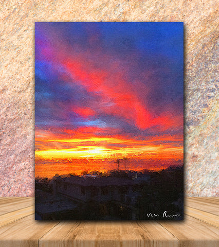 Red Streak Wrapped Canvas Print 11x14