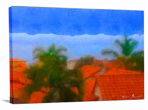 Rooftop Blues Wrapped Canvas Print