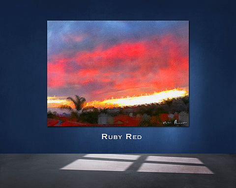 Ruby Red Wall Print 60x40