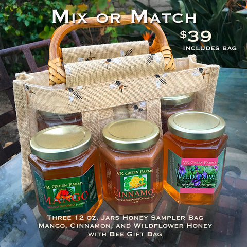3-Jar Local Honey Sampler with Tote Bag
