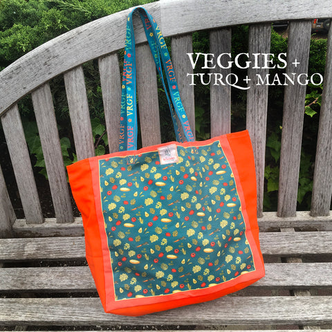 VRGF Veggie Print on Turquoise/Mango Canvas Bag