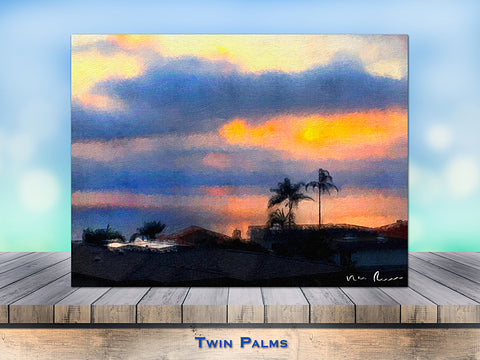 Twin Palms Wrapped Canvas Print