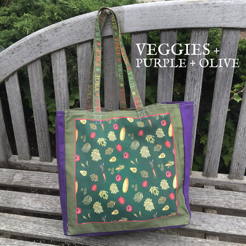 VRGF Veggie Print on Purple/Olive Canvas Bag