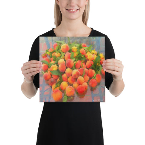 Summer Peaches Wrapped Canvas Print
