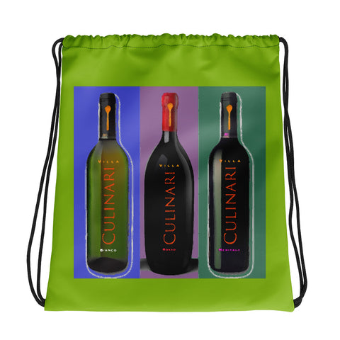 Wine Trio Drawstring bag