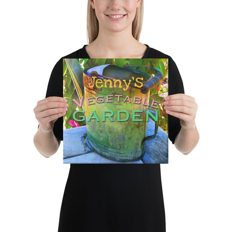 Custom Name Vegetable Garden Wrapped Canvas Print