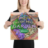 Custom Name Fresh Herb Garden Wrapped Canvas Print