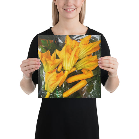 Zucchini Flowers Wrapped Canvas Print