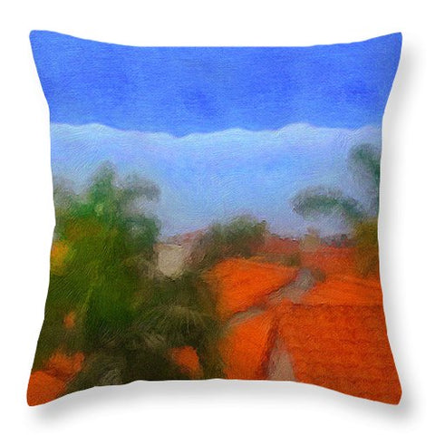 Rooftop Blues - Throw Pillow