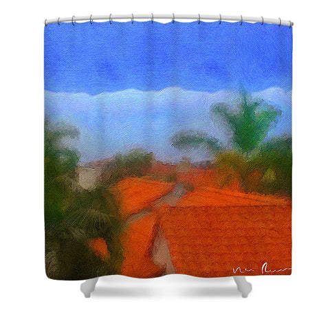 Rooftop Blues - Shower Curtain