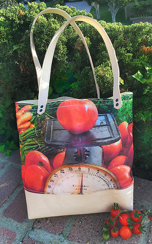Mercato Canvas/Leather Bag — Tomato Scale