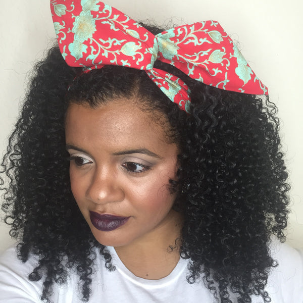 Mint Red Damask Hair Tie