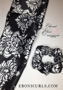 Black Damask Satin Rectangle Scarf and Scrunchie Set