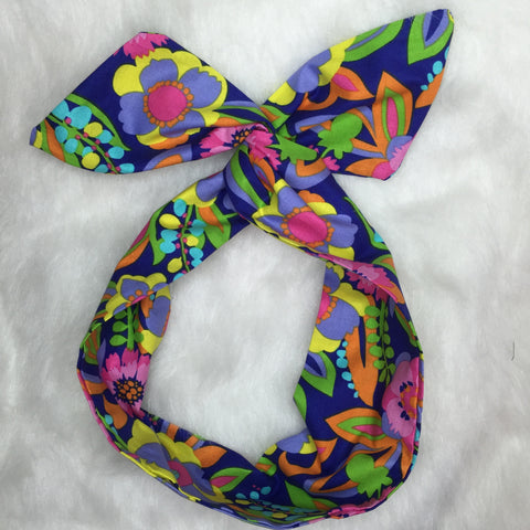 Purple Neon Floral Hair Tie