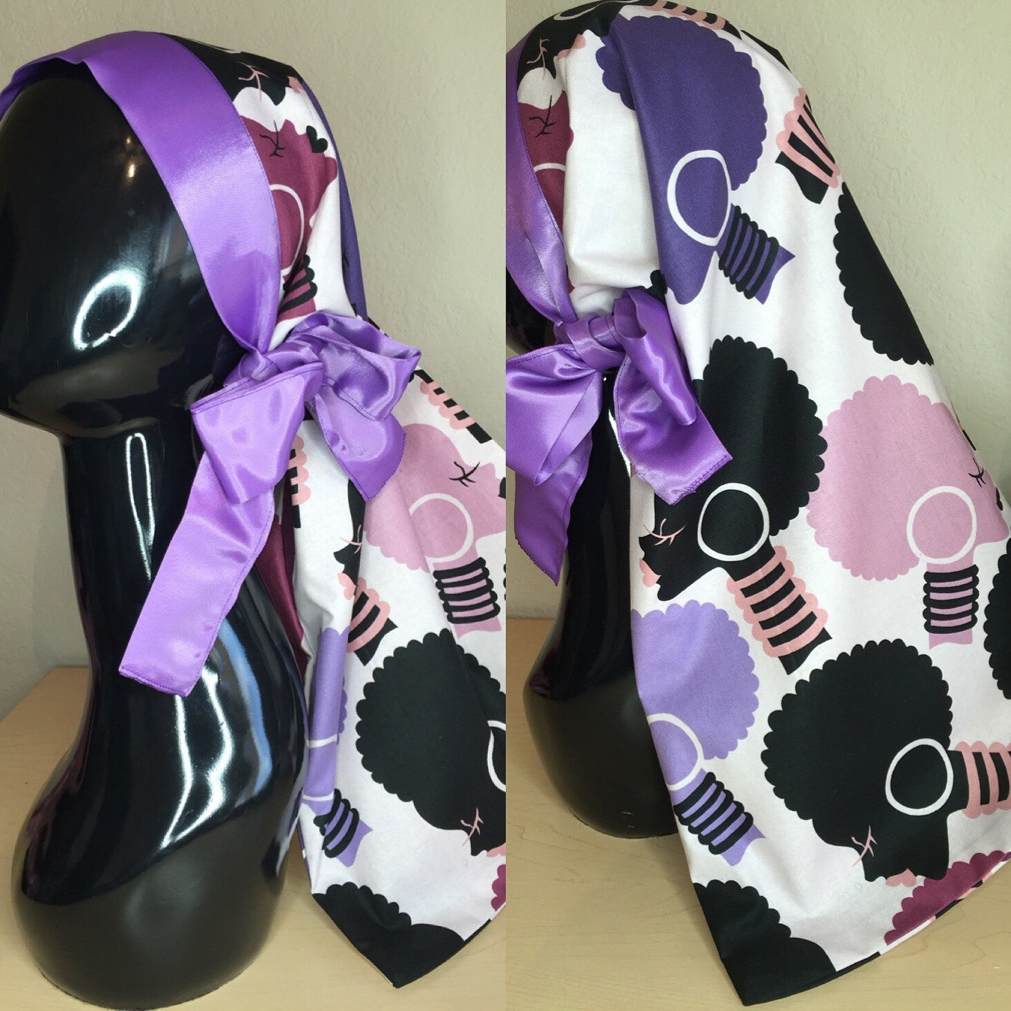 Purple Afro Lady Pocket Tie