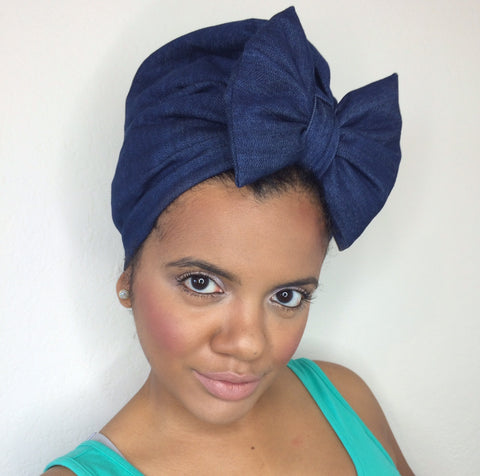 Denim  Bow Turban