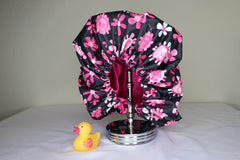 Pink & Black Flower Shower Cap