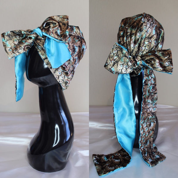 Aqua Silver Peacock Hooded Scarf