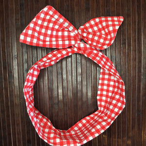 Red & White Picnic Hair Tie