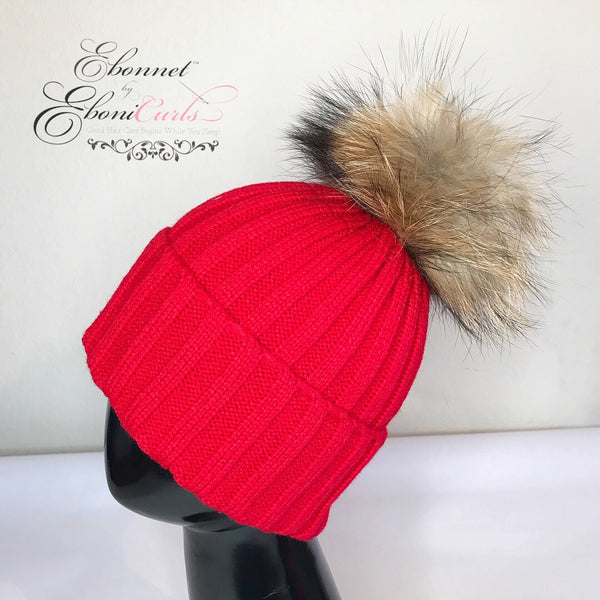 Red Satin Lined Knit Hat