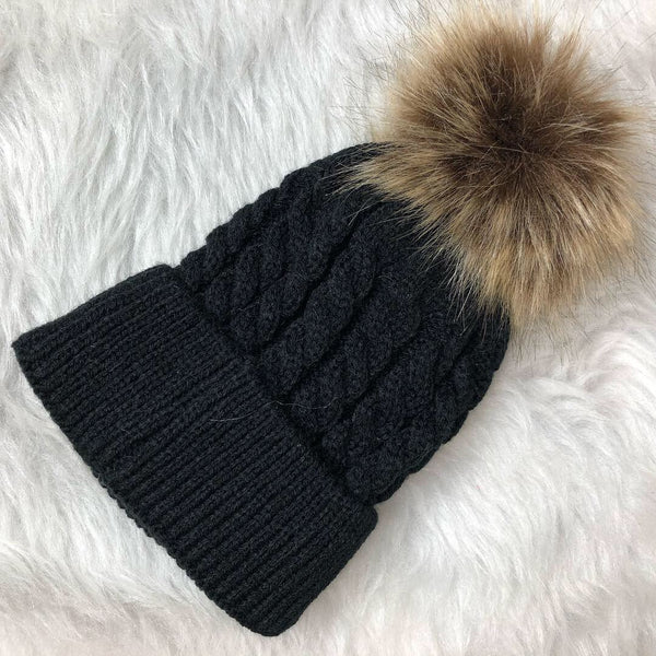 Babies Black Satin Lined Winter Hat