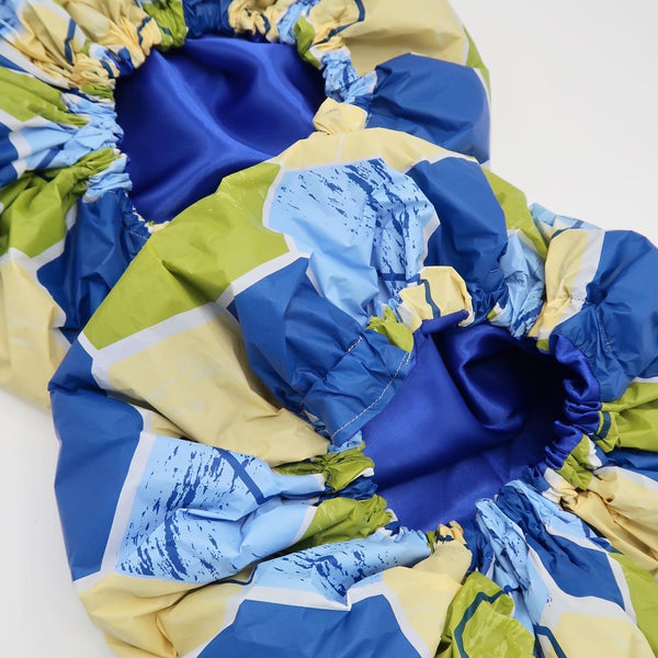 Blue Symmetry Shower Cap