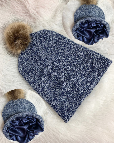 Navy satin lined knit hat
